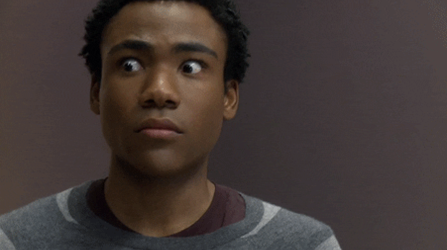 Wide-eyed and nervous Donald Glover
