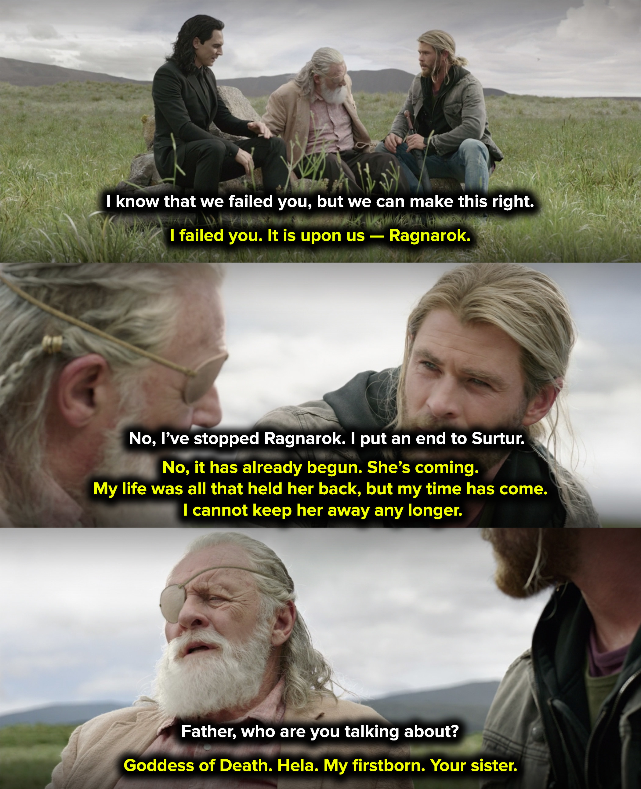 Odin waited until his final breath to tell the boys about their sister