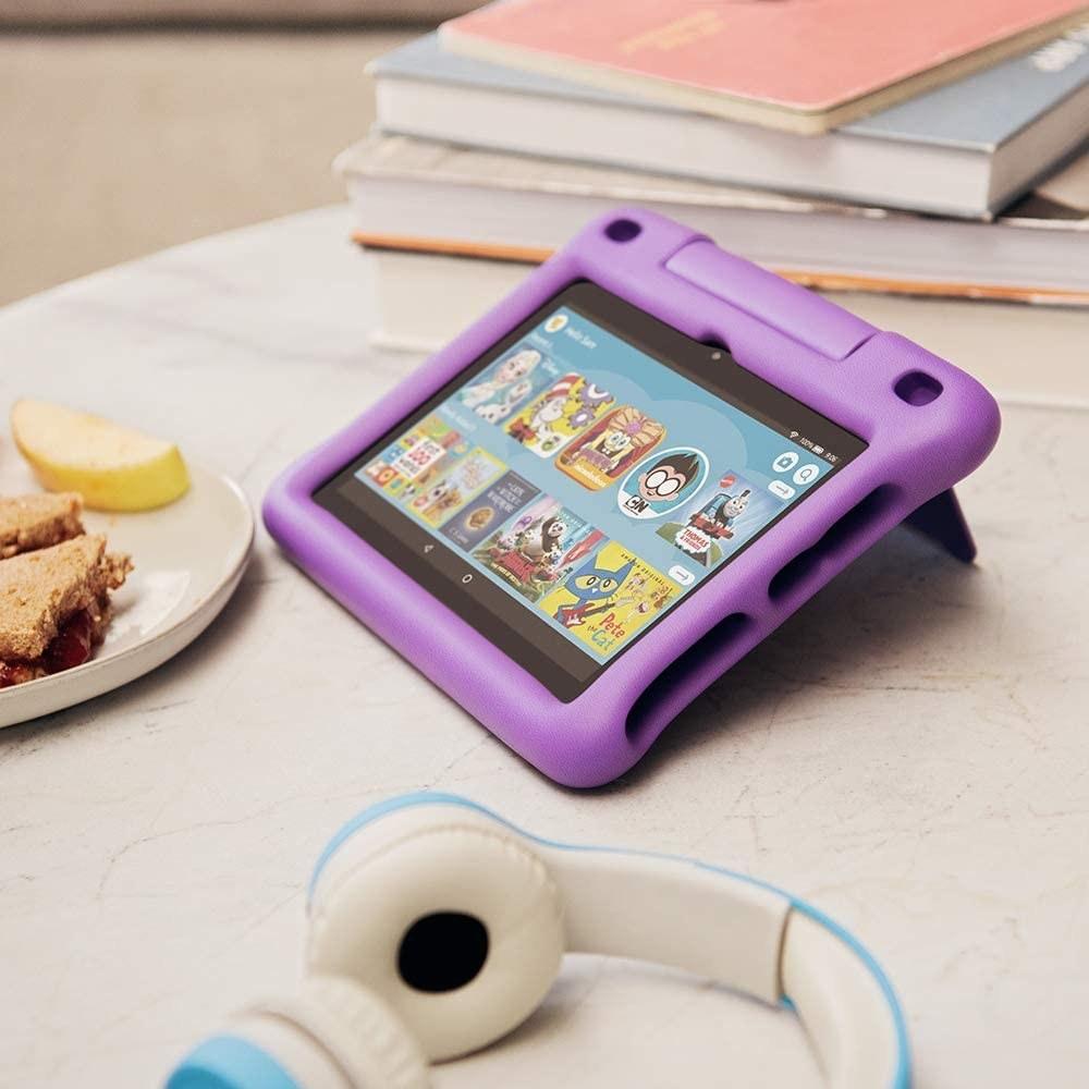 Fire HD 8 Kids tablet with a purple case
