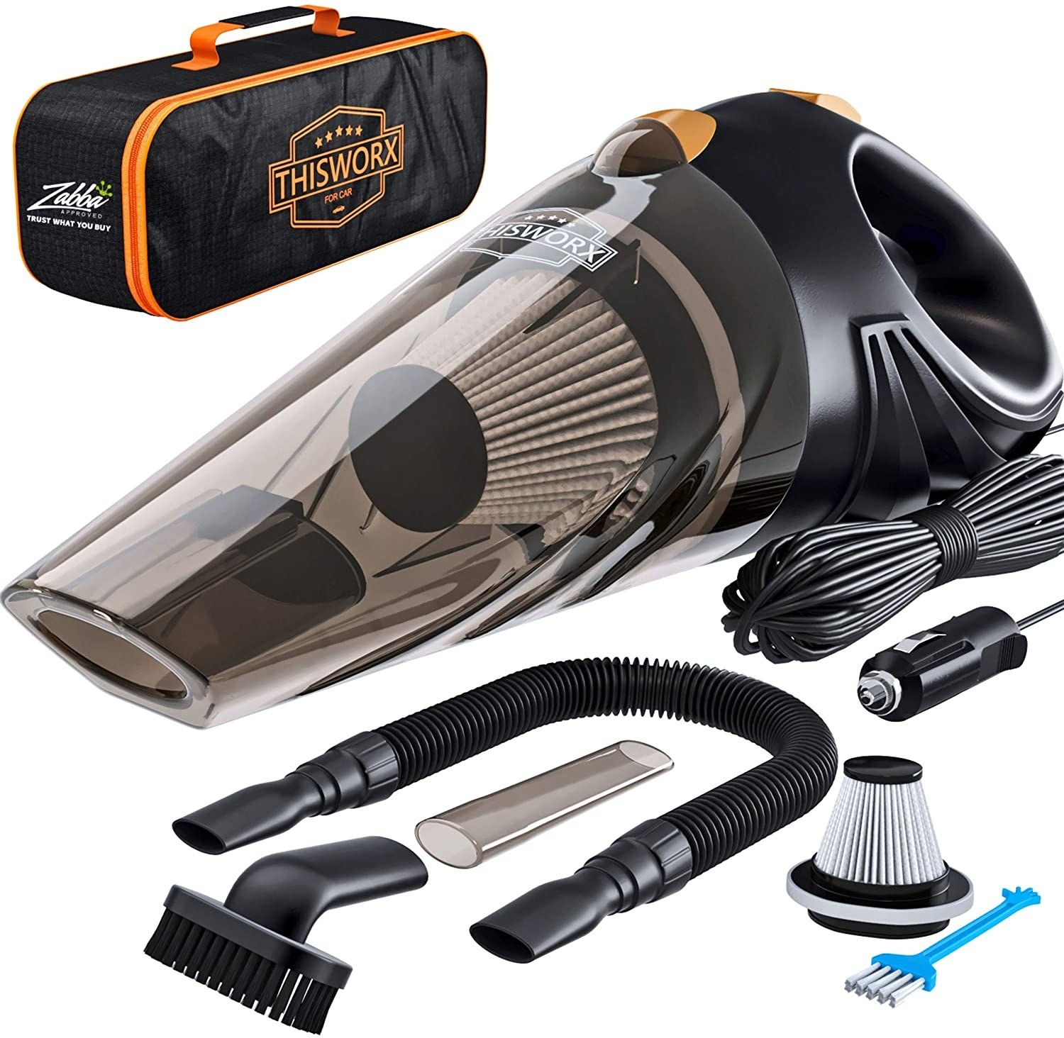 The ThisWorx Car Vacuum Cleaner and all of it's parts, attachments, and tools