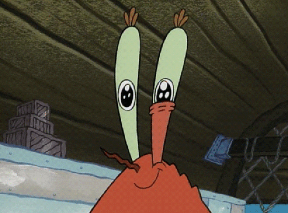 Mr. Krabs with one eye twitching