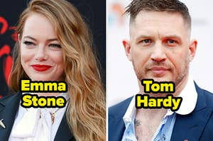 Emma Stone, wearing a black blazer under a white wide collared shirt, smiles softly and Tom Hardy, wearing a blue blazer under a blue striped button up shirt, looks off into the distance.