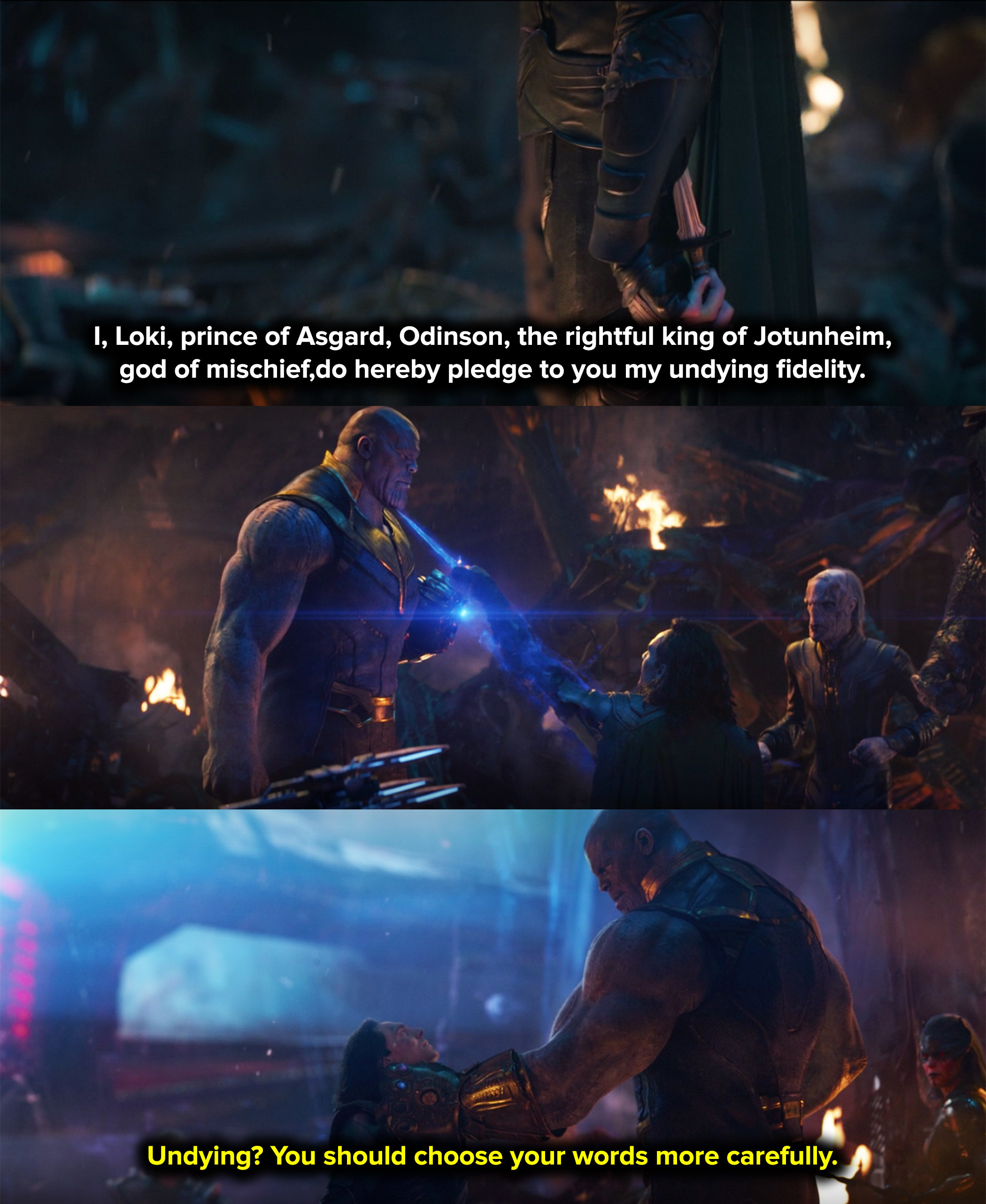 Thanos stopped his dagger with the space stone