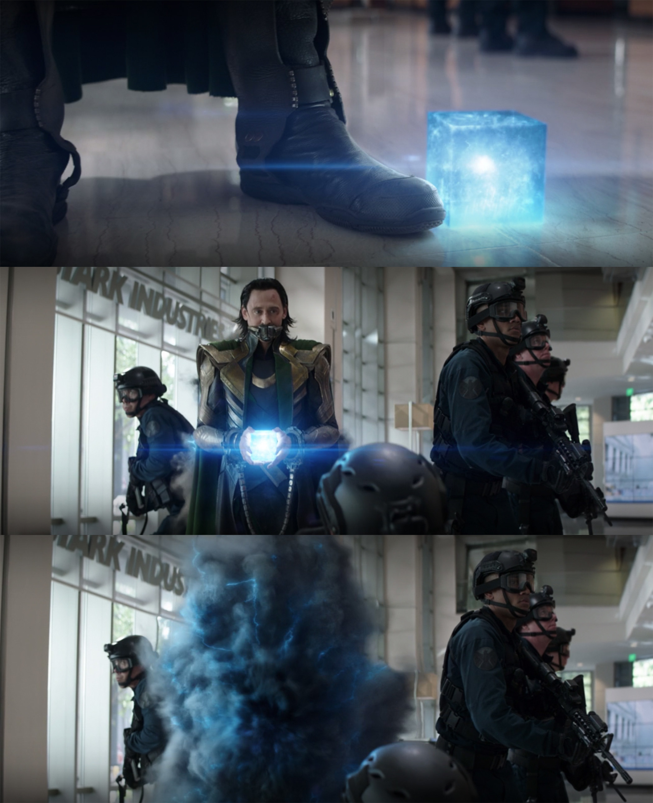 Loki simply picked up the fallen Tesseract and vanished