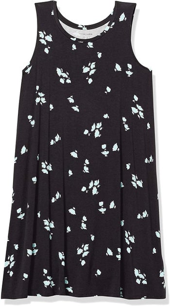 the black dress with white flowers