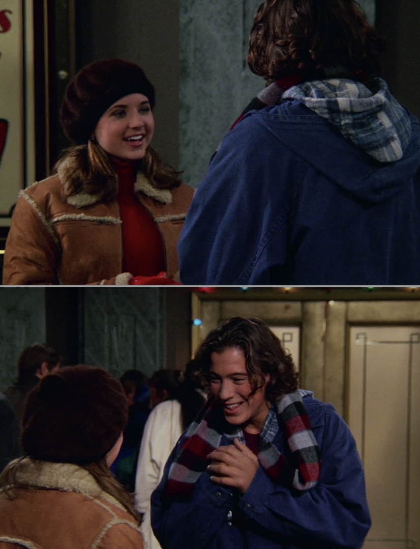 Both actors on set, outside, in a winter clothes