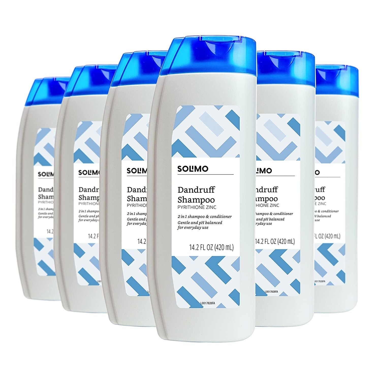 The bottles of shampoo