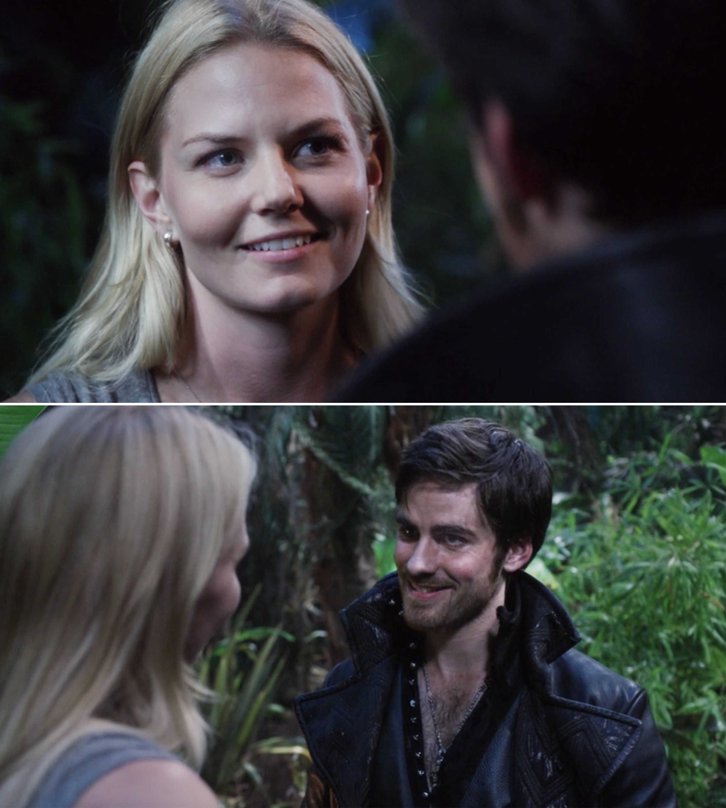 Emma and Hook looking at each other in the forest