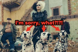 Cruella holding 3 Dalmatians on leases with text reading,