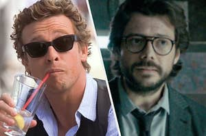 Patrick Jane, wearing dark sunglasses, sips from a red straw inside of a mostly empty glass and The Professor, wearing round glasses and a suit, looks at someone off screen.
