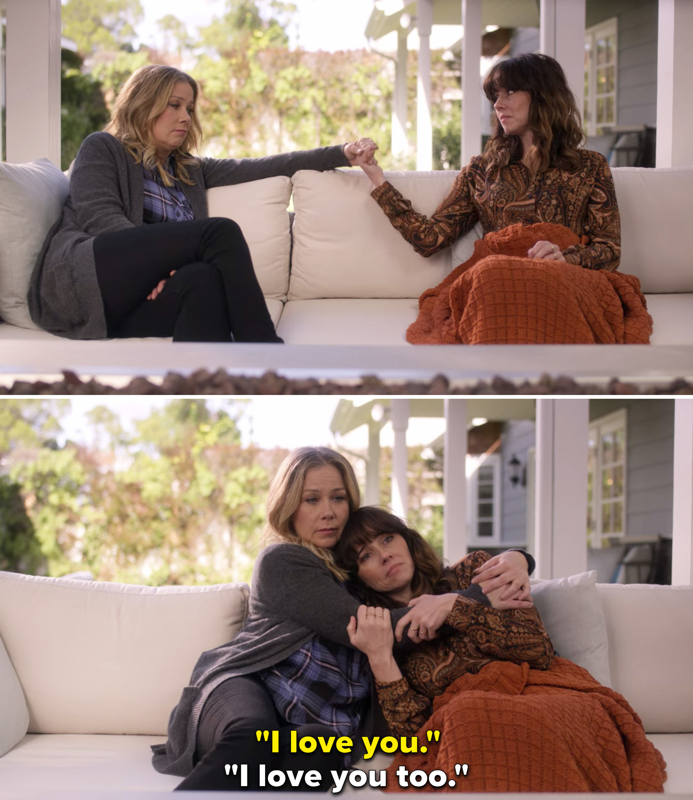 """Jen and Judy hugging on a couch and saying, """"I love you"""""""