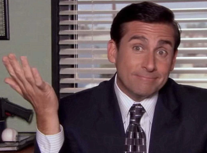 """Michael Scott from """"The Office"""" looking into the camera"""