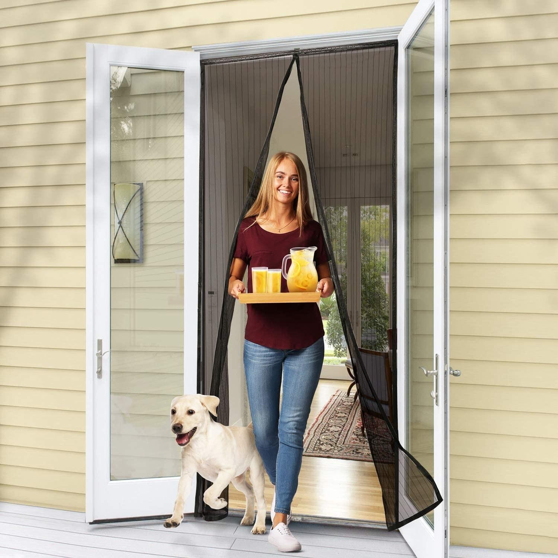 Model walking through magnet screen door