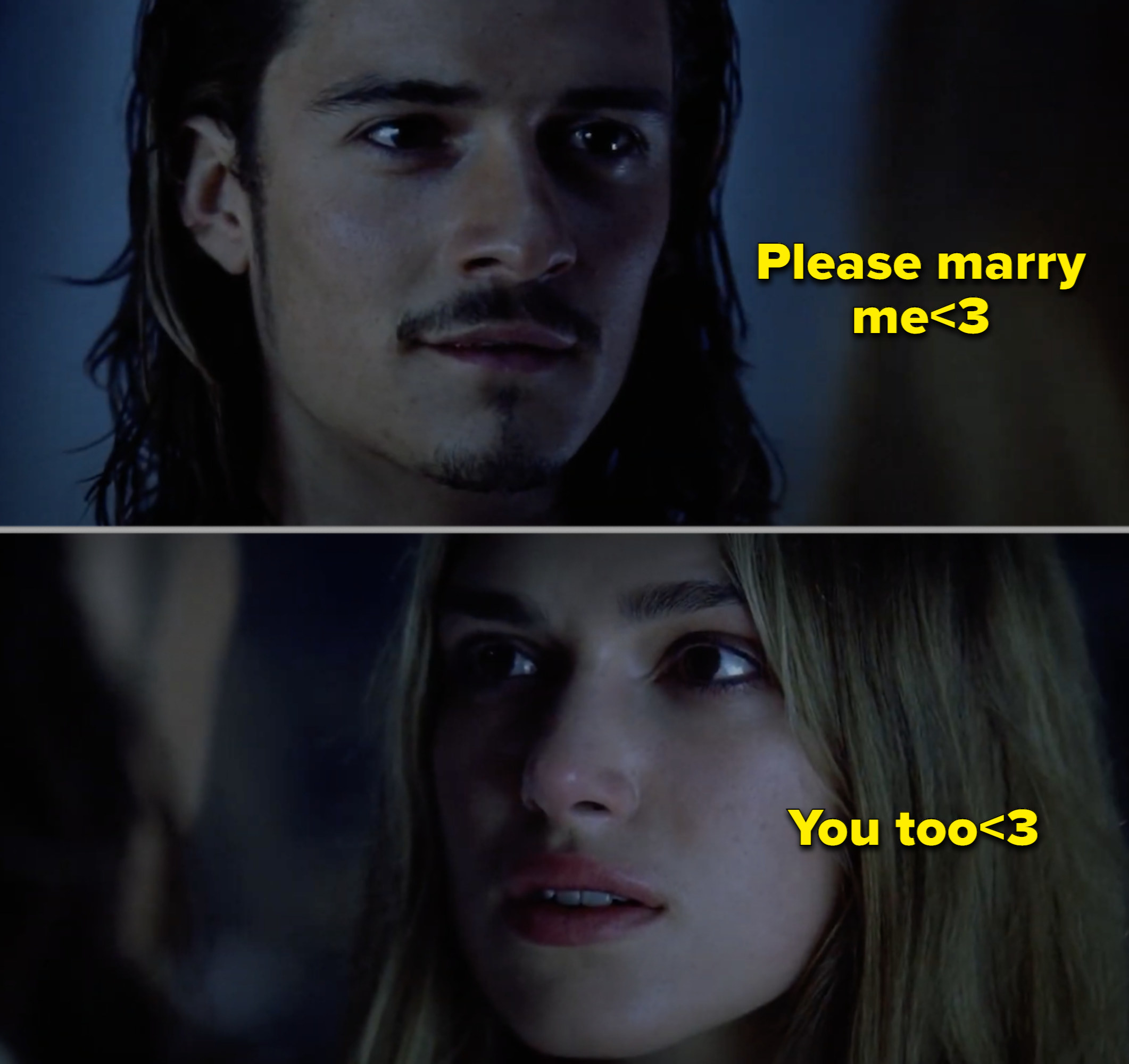 """Orlando and Keira in the first """"Pirates"""" movie"""