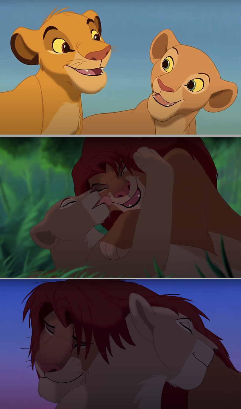 Simb and Nala as cubs and then adult lions