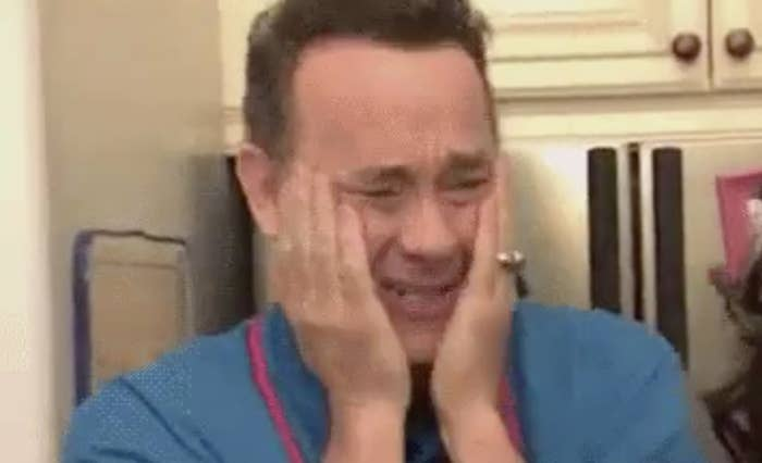 """Tom Hanks excitingly holding his hands to his face during a sketch on """"Jimmy Kimmel Live"""""""
