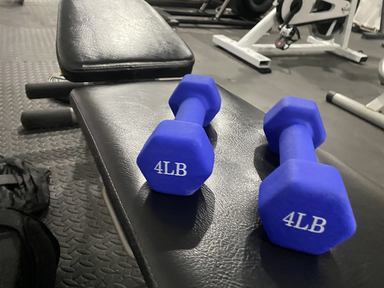 Four-pound weights in blue