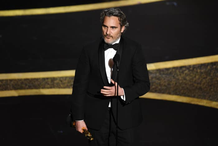Joaquin looks serious while speaking on stage