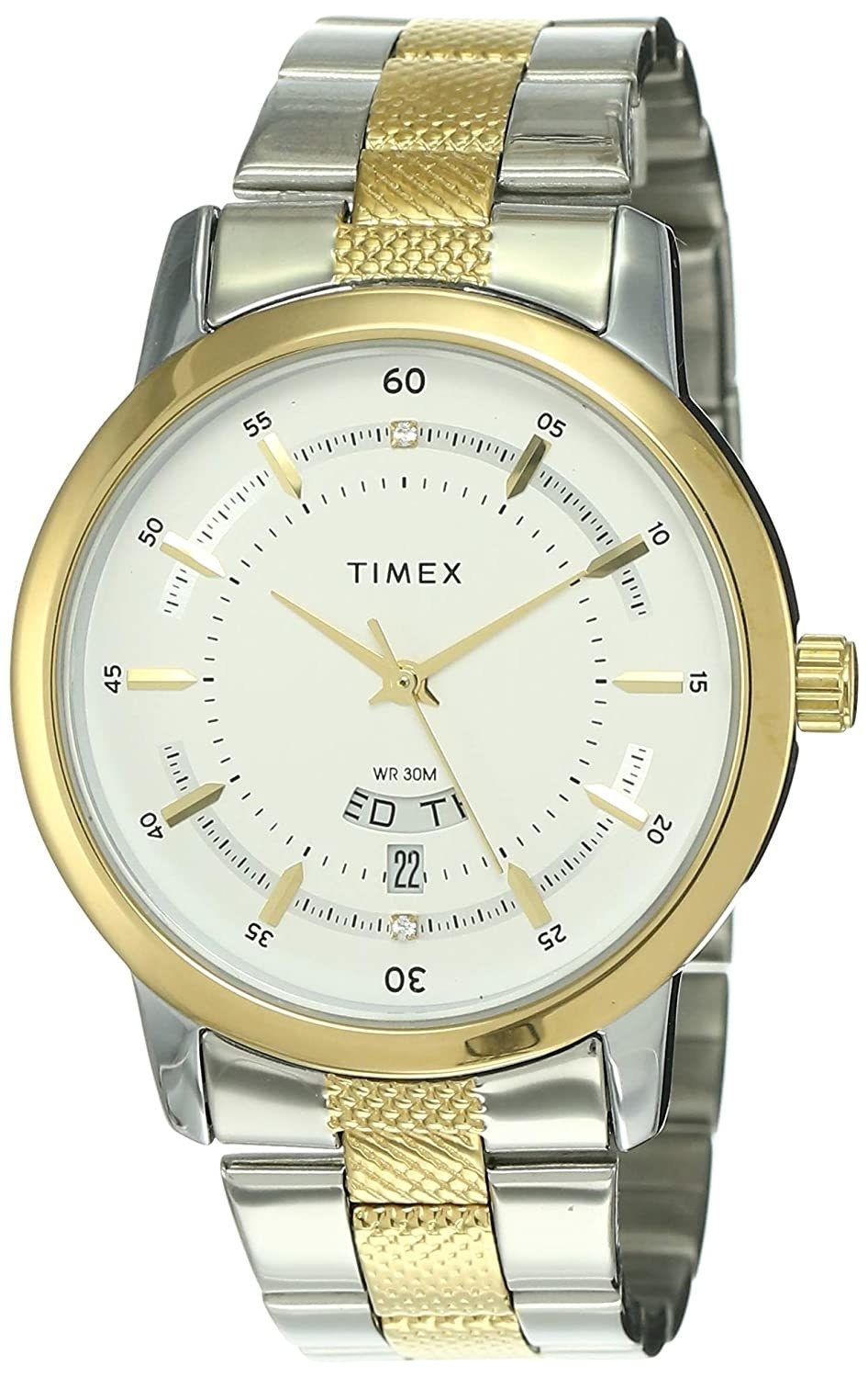A silver and golden watch