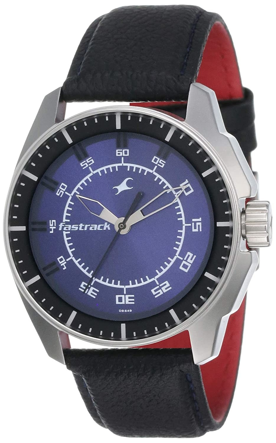 A watch with a black and red strap and a blue dial