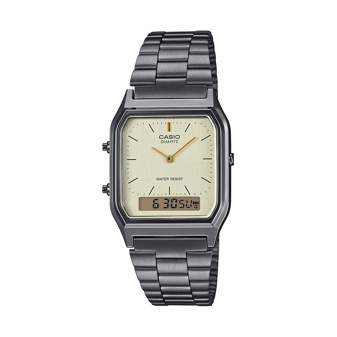 A silver watch with a square cream coloured dial