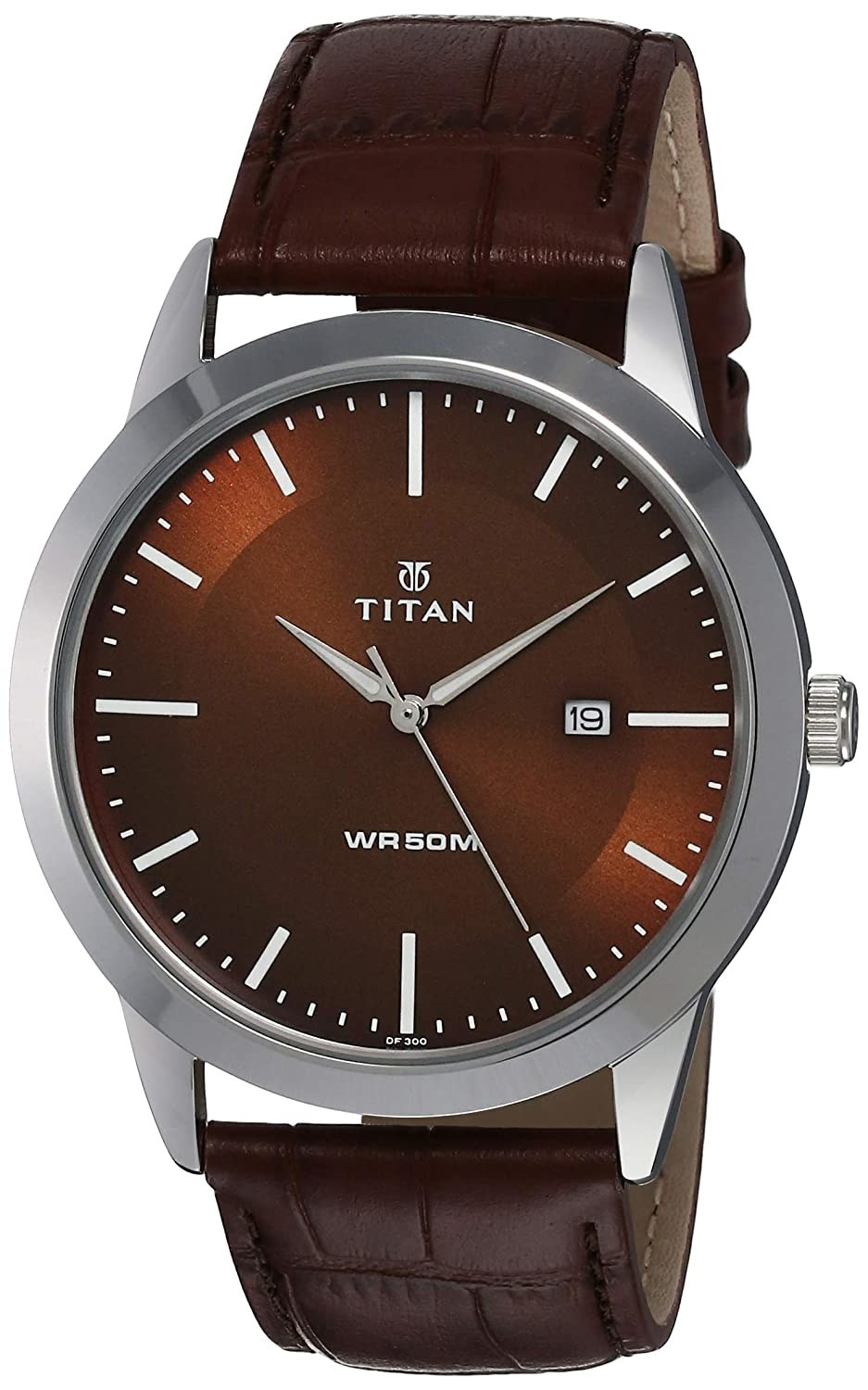 A watch with a brown strap and a brown and silver dial