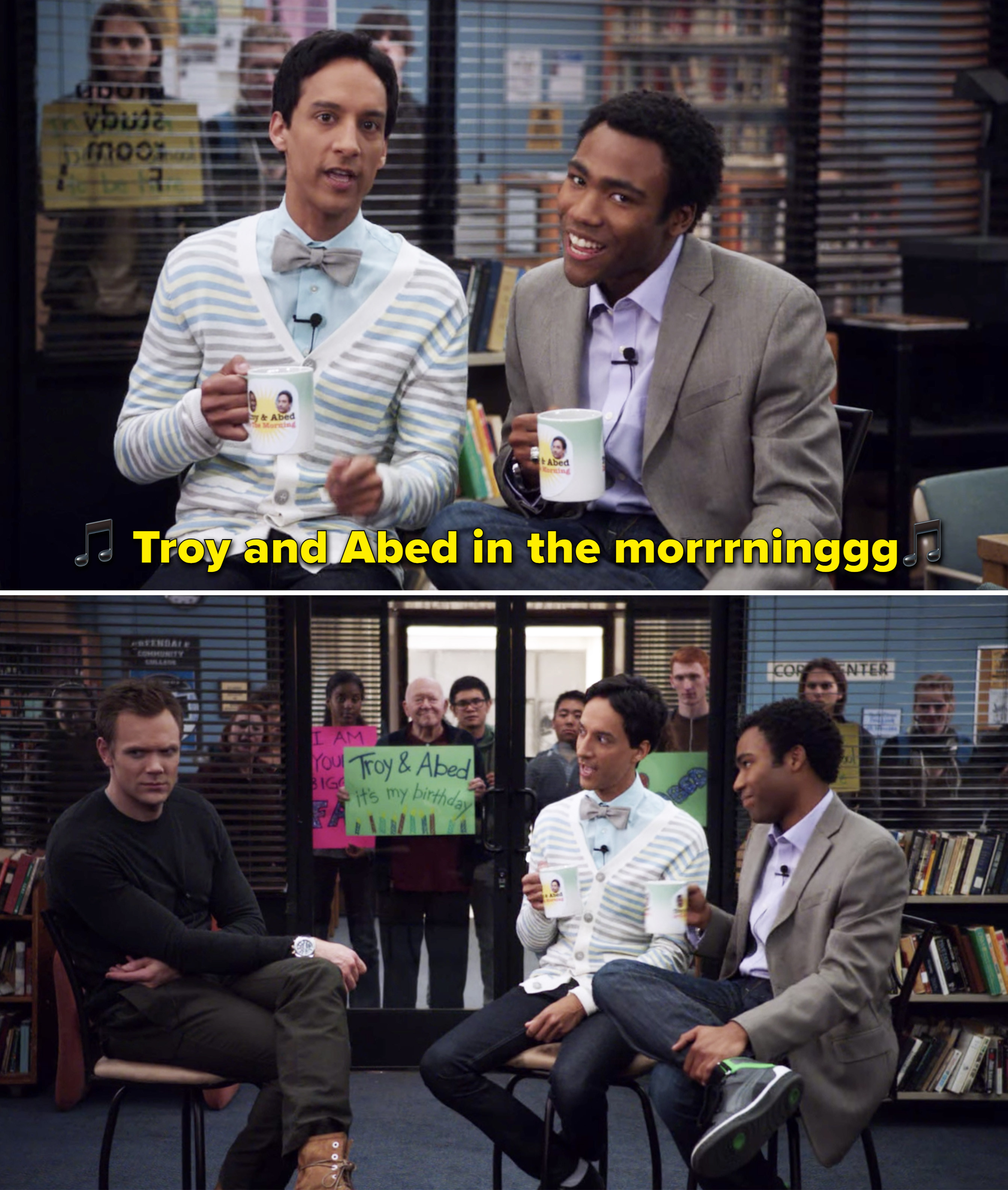 """Troy and Abed singing, """"Troy and Abed in the morning"""""""