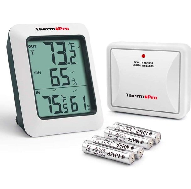 The thermometer display, remote sensor, and 4 AA batteries