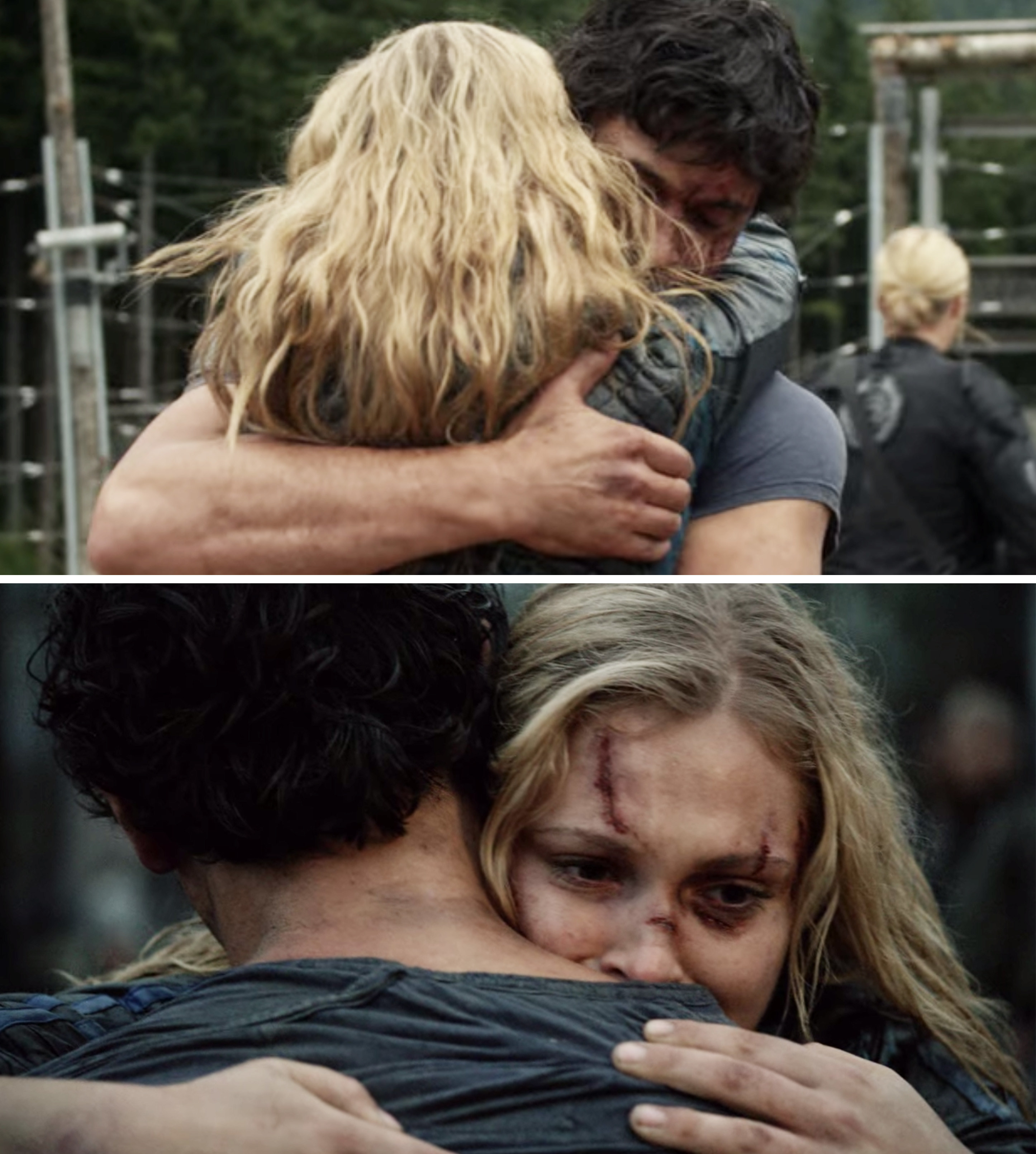 Bellamy and Clarke hugging each other