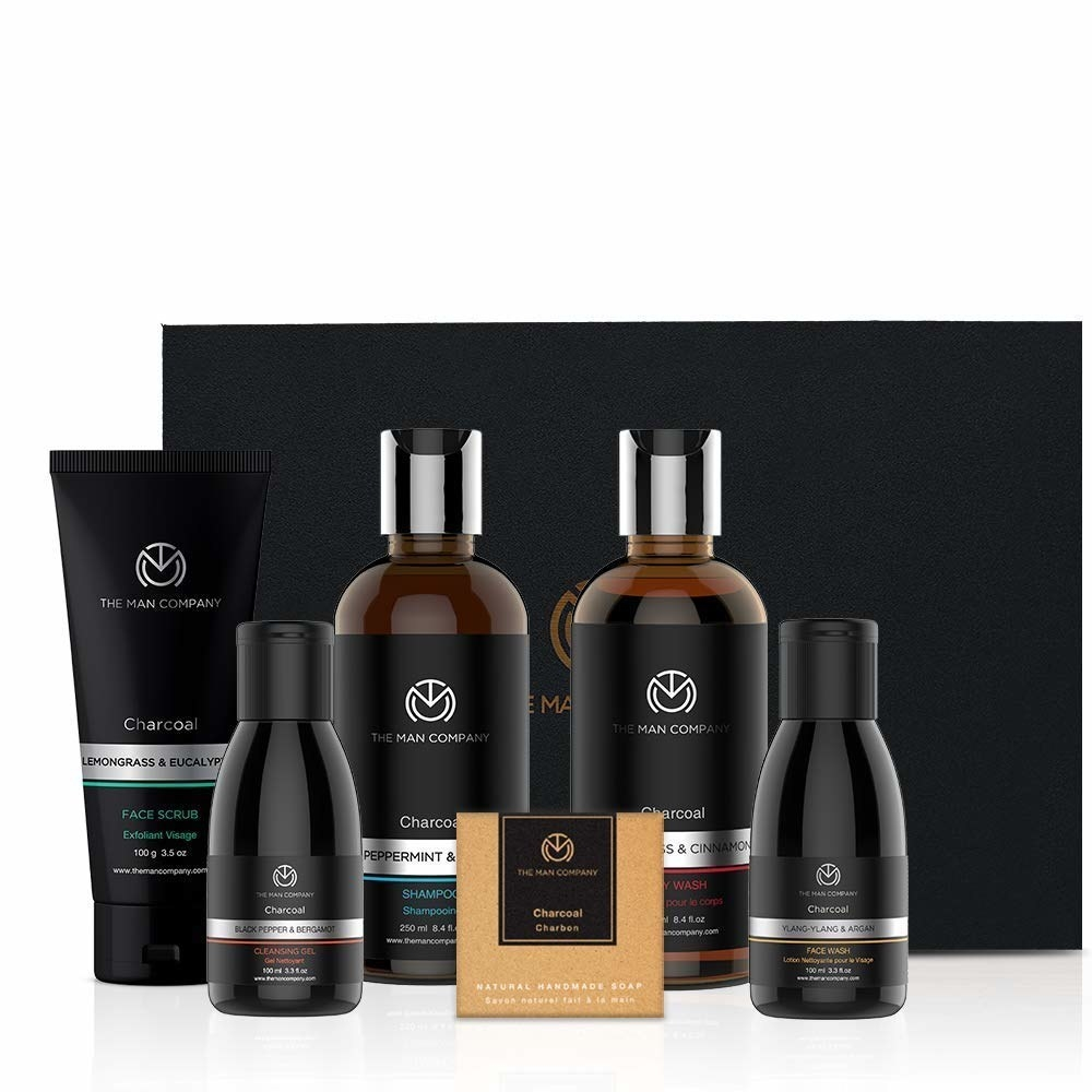 The hamper contains a face scrub, soap, face wash, cleansing oil, shampoo, and body wash