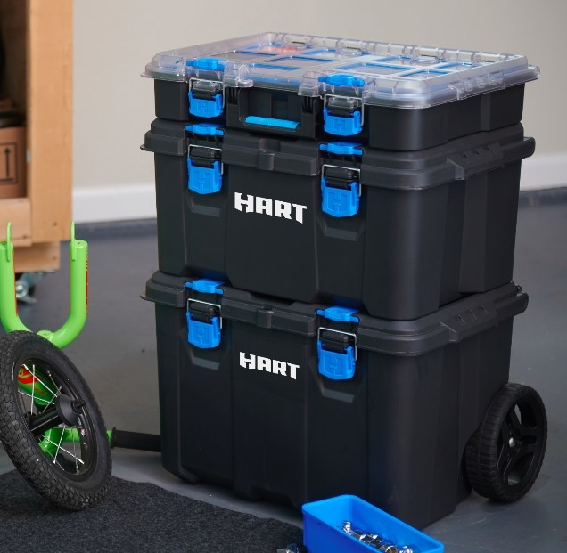 The toolbox with the three compartments in the stacked and locked position