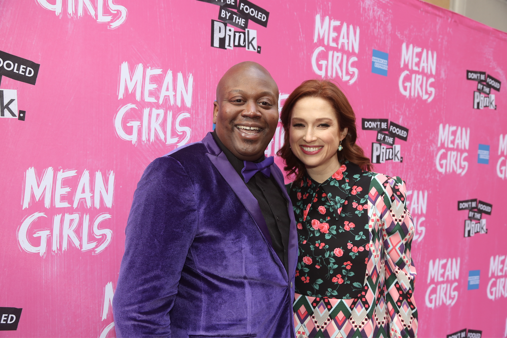 """Tituss Burgess and Ellie Kemper pose at the arrivals for the opening night of the new musical based on the cult film """"Mean Girls"""" on Broadway at The August Wilson Theatre on April 8, 2018 in New York City"""