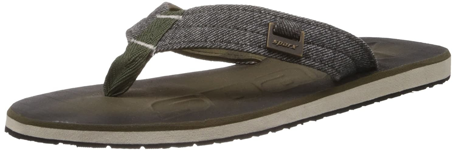 A singular Sparx flip-flop in olive and white