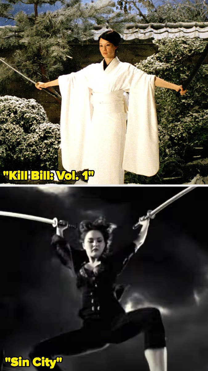 """O-Ren Ishii holding two swords in """"Kill Bill"""" and Miho holding those same swords in """"Sin City"""""""
