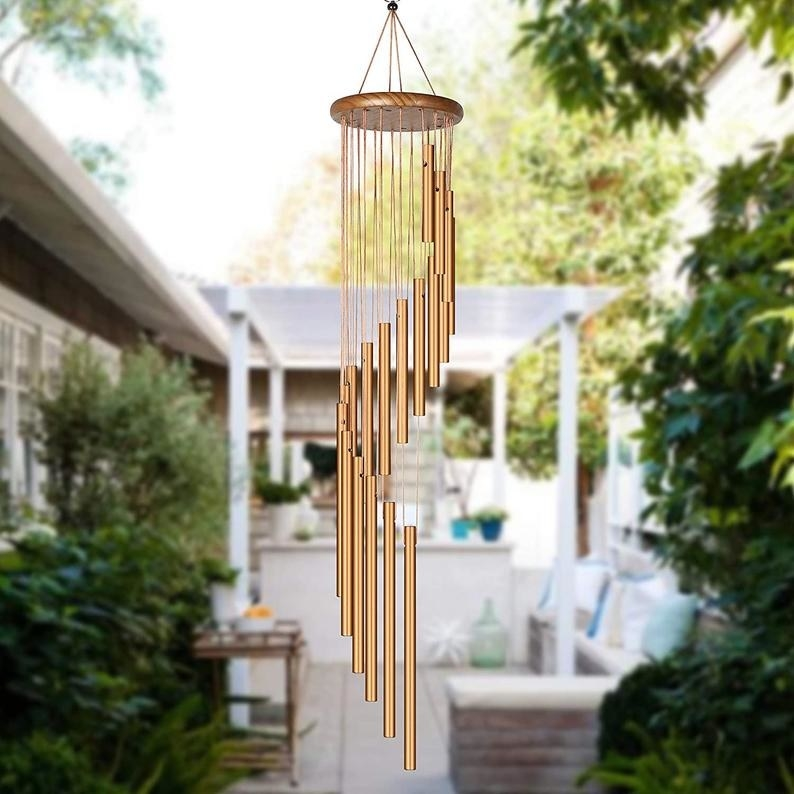 The wind chime hangs in an outdoor patio
