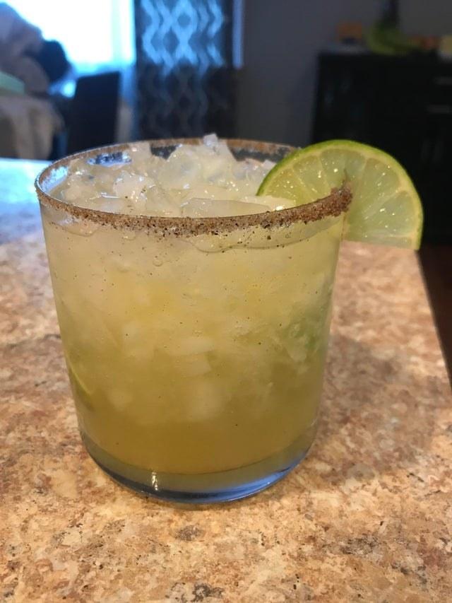 A booze-free margarita with salt rim.