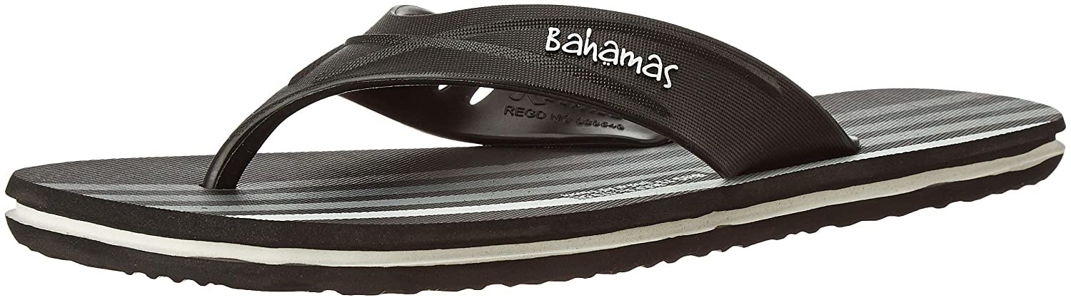 """A singular flip-flop in black and white. It has text that says """"Bahamas"""" on its side."""