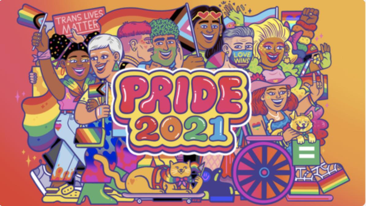 "A rainbow image celebrating ""Pride 2021"""