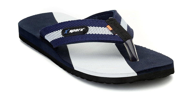 A singular Sparx flip-flop in blue, black, and white