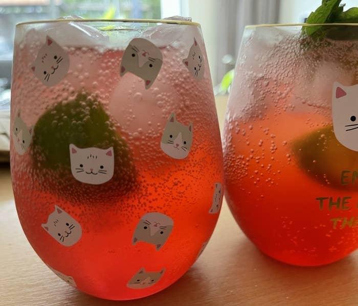 Two cranberry fizz cocktails.