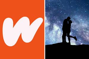 the wattpad logo on the left, and a guy and girl kissing in front of a background of stars on the right