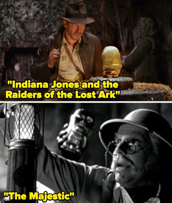 """Indiana Jones capturing the Golden Idol and the same Golden Idol appearing in a black and white shot from """"The Majestic"""""""