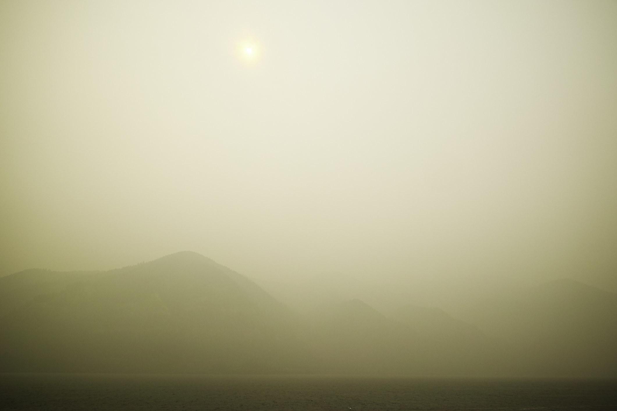 A hazy landscape