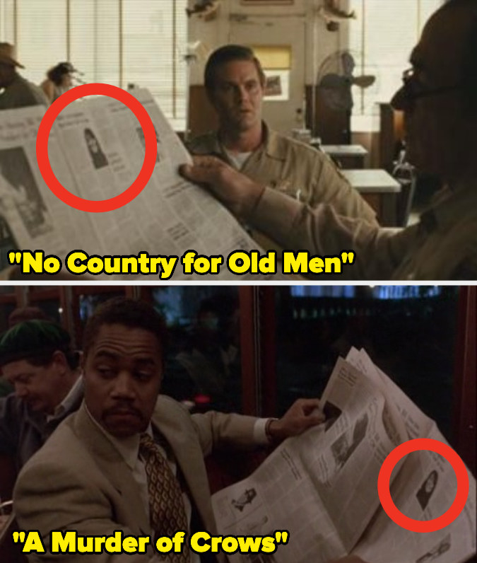 """Characters holding the same newspaper in """"A Murder of Crows"""" and """"No Country for Old Men"""""""