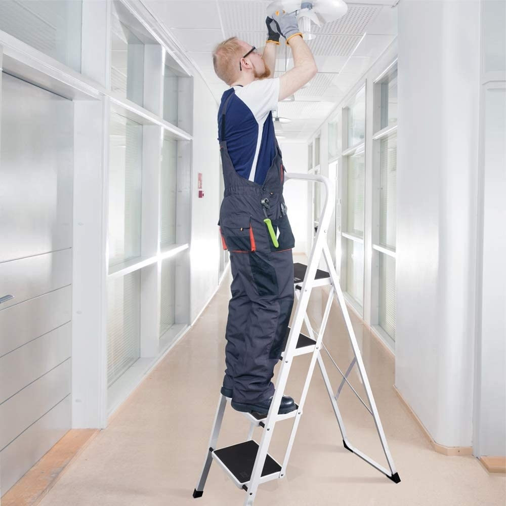 A foldable, four-step ladder