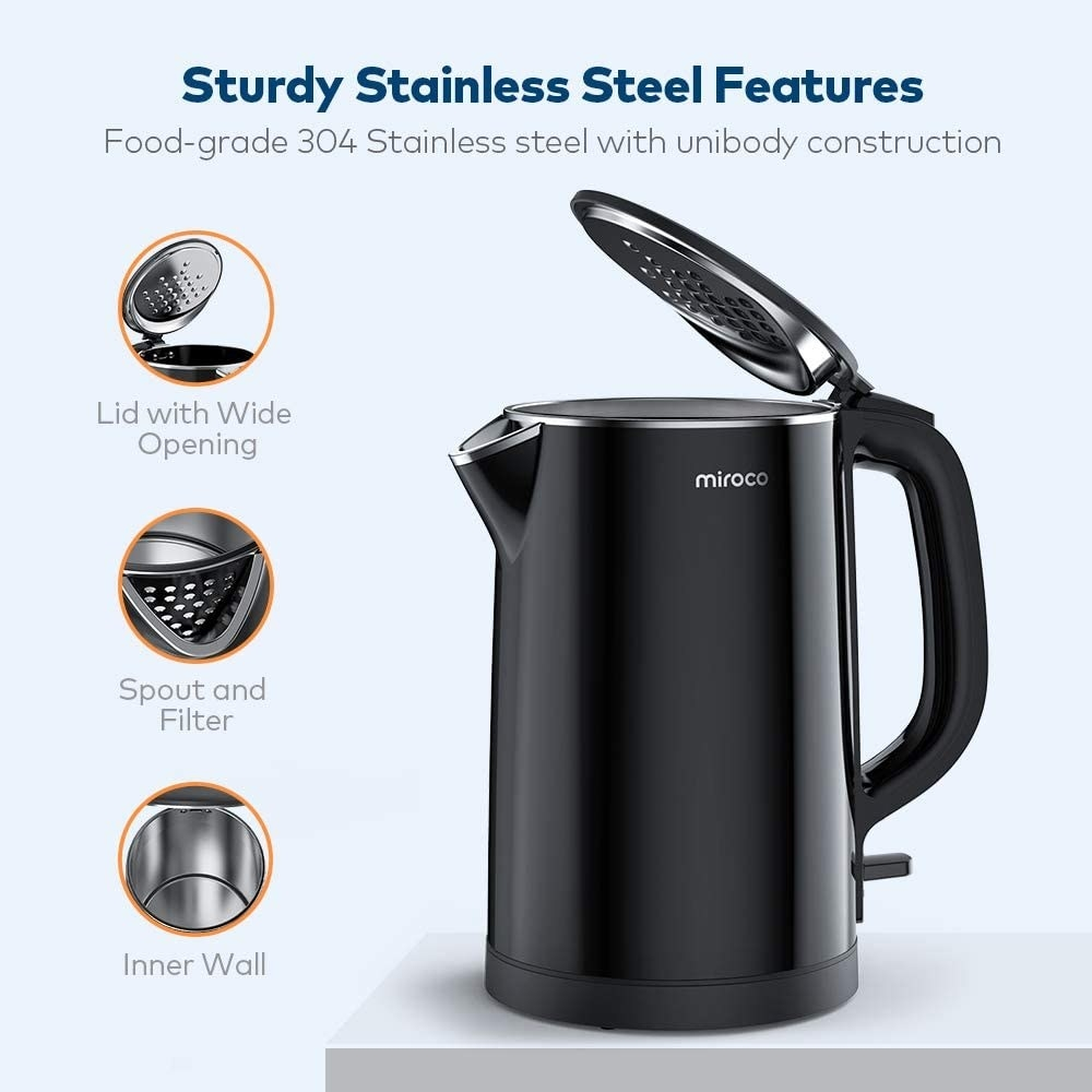 A graphic of the electric kettle showing its stainless steel material, wide-opening lid, spout, and filter
