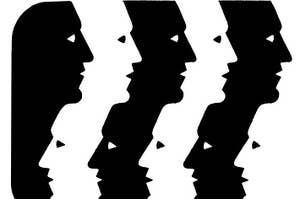 Abstract art pattern of black and white heads