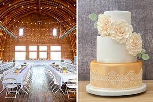 String lights and tables in a barn, next to a petite wedding cake with frosting roses