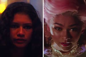 """Zendaya is on the left in """"Euphoria"""" and on the right in """"The Greatest Showman"""""""