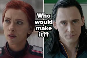 Natasha Romanoff looks off to the side while wearing her red and white Avengers space suit and Loki glares while he's tied to a chair.